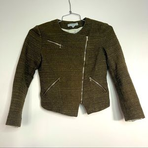 H&M Tweed Army Green Moto jacket/blazer